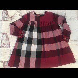 Girls 2y Burberry check dress like new